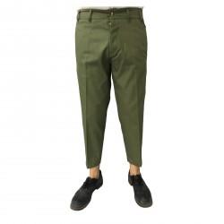 TISSUE' pantalone uomo verde con bottoni e linguetta dietro mod TPM00600 G001 100% cotone MADE IN ITALY