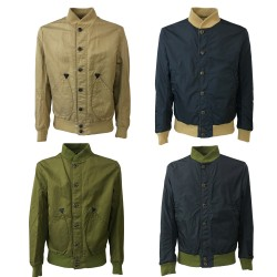 M.I.D.A reversible man bomber 36033 fabric 60% cotton 40% ramie MADE IN JAPAN