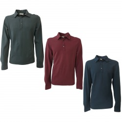 GIRELLI BRUNI men polo long sleeves in pique 100% cotton MADE IN ITALY