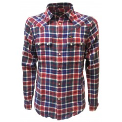 LEE 101 shirt man 101 RIDER SHIRT cut western blue / red square studs regular fit 100% cotton
