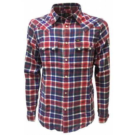 LEE 101 shirt man 101 RIDER SHIRT cut western blue / red square studs regular fit 100% cotton