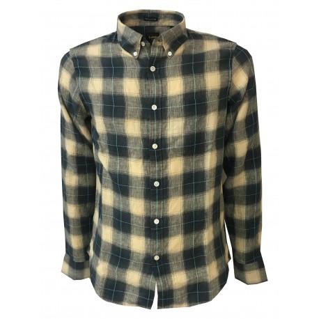 LEE 101 paintings man's shirt ecru / gray mod 101 BUTTON DOWN 100% linen regular fit
