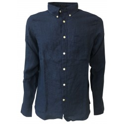 LEE 101 man's shirt piede de poule denim/blu mod 101 BUTTON DOWN 100% linen regular fit