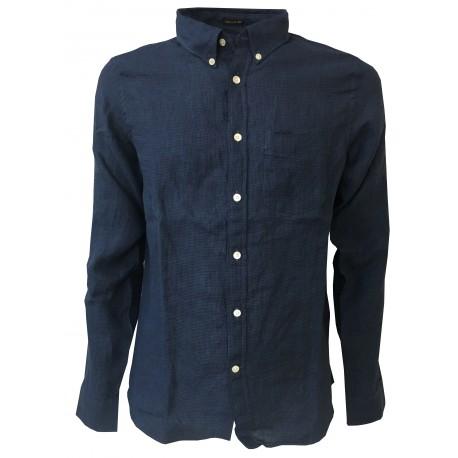 LEE 101 man's shirt piede de poule denim/blu mod 101 BUTTON DOWN 100% linen regular fit