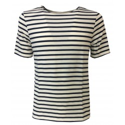 SAINT-JAMES t-shirt uomo mod LEVANT MODERNE ecru/marine 100% cotone MADE IN FRANCE