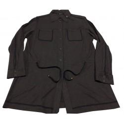 ELENA MIRO' camicia jersey lunga antracite, coulisse in vita bottoni automatici