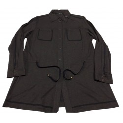 ELENA MIRÒ long shirt jersey anthracite, drawstring waist, automatic buttons