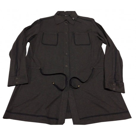 ELENA MIRÒ long shirt jersey anthracite, drawstring waist, automatic buttons