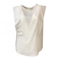 TELA camicia donna bianco/nero mod LAURO 76% cotone 24% seta MADE IN ITALY