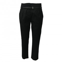 TELA pantalone donna nero cotone con cintura mod CARTA MADE IN ITALY