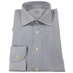 BRANCACCIO camicia uomo bianco/blu 100 % cotone doppio ritorto vestibilità slim