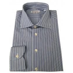 BRANCACCIO camicia uomo bianco/blu 100 % cotone vestibilità slim