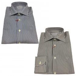 BRANCACCIO camicia uomo a righe, manica lunga 100% cotone doppio ritorto