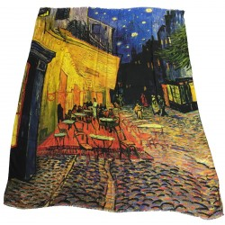 "VESTILARTE foulard ""Coffee Terrace On the Place Du Forum At The Night"" by Van Gogh 119 cm x 150 cm MADE IN ITALY 100% MicroModal"