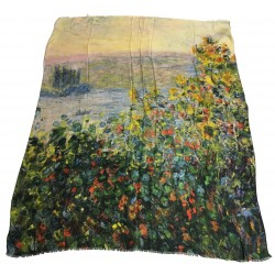 VESTILARTE Scarf Flower Beds Claude Monet 119 cm x 150 cm MADE IN ITALY