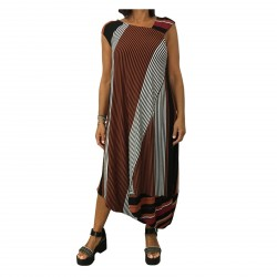 MOUSSE abito donna jersey righe nero/cuoio/bordeaux mod MS604L MADE IN ITALY