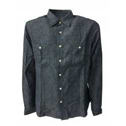 M.I.D.A. man shirt long sleeve chambray 75% cotton 25% linen JAPANESE FABRIC