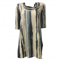 LA FABRIQUE blusa donna jersey beige/celeste/denim mod 18E-690 MADE IN ITALY