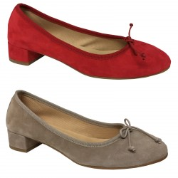 UPPER CLASS ballerina woman suede mod ROMY with covered heel 3.5 cm 100% leather MADE IN ITALY