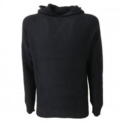 ALPHA STUDIO maglia uomo cappuccio blu slim fit lana/cashmere mod AU-6503C
