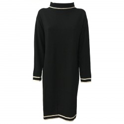 ALPHA STUDIO abito donna maglia nero con dettagli ecru mod AD-7013O 100% lana
