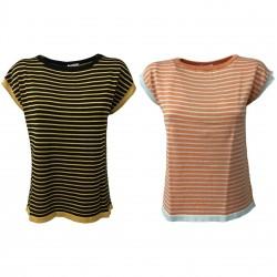 NODO maglia donna manica scesa righe mod TMD07S54 100% cotone MADE IN ITALY