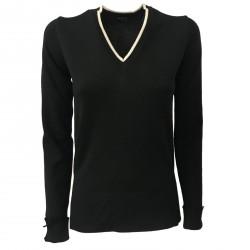 ALPHA STUDIO maglia donna a V nero con spacchi laterali mod AD-7010A 100% lana