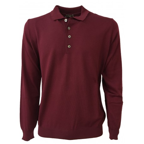 FERRANTE polo uomo bordeaux 100% lana MADE IN ITALY