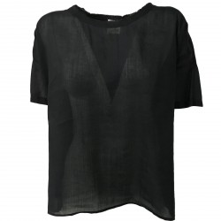 ATTIC AND BARN blusa donna mezza manica nero mod ALONSO 56% ramie 44% cotone