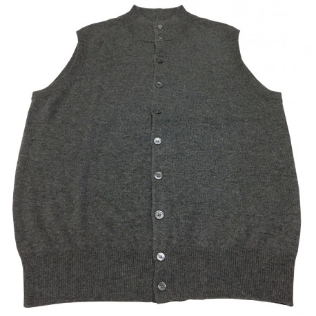 BIARRITZ 1961 men's vest with buttons gray 100% cashmere Slim fit