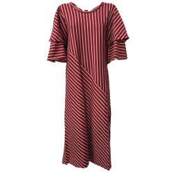 NUMERO PRIMO woman dress mod S639L 100% cotton bordeaux/pink MADE IN ITALY