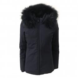 NORWAY giubbino corto blu cappuccio fisso pelliccia in tinta mod SIBILLA 85442
