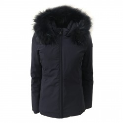 NORWAY woman jacket blue with hood and fur mod SIBILLA 85442