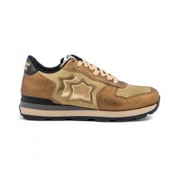 ATLANTIC STARS sneakers donna oro nylon e pelle VEGA OB-79N MADE IN ITALY
