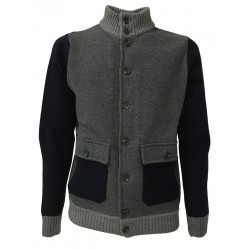 FERRANTE blouson man blue / gray with buttons and pockets mod U24001 80% wool 20% polyamide MADE IN ITALY