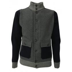 FERRANTE blouson uomo blu/grigio con bottoni e tasche mod U24001 80% lana 20% poliammide MADE IN ITALY