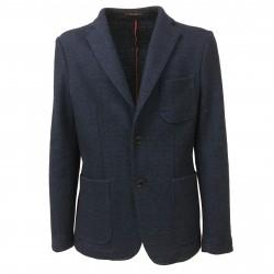 ROYAL ROW giacca uomo cotone/lana sfoderata blu/azzurro WELLS G2 MADE IN ITALY