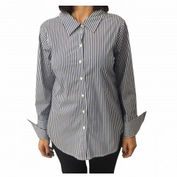 RUE BISQUIT women's shirt blue/white cotton over MADE IN ITALY