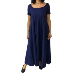 ASPESI abito donna lungo blu tampone mod H626 C196 100% lino vestibilita comoda
