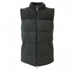 DELLA CIANA man gray down vest 80% wool 20% cashmere art 18494 MADE IN ITALY