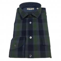 BRANCACCIO camicia uomo blu/verde 100% cotone mod RANGER URBAN 6605 tes UR62502