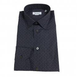 BRANCACCIO camicia uomo blu fantasia lettere mod DUTY K2 tess BZ61102 100%cotone