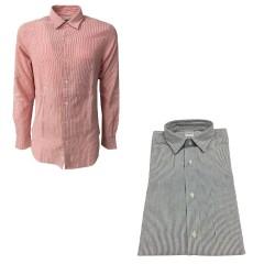 ASPESI camicia uomo righe bianco/antracite con manica lunga e taschino, modello RIDOTTA II CC02 A330 100% cotone