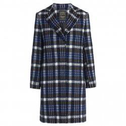 PENNYBLACK woman coat check blue/black wool mod AGIO