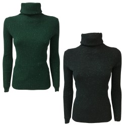 ORION LONDON knit woman ribbed lurex high collar mod DAILY KNIT TOP