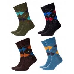 BURLINGTON Men Knee-high Socks mod 20568 FASHION Tweed Argyle 29% wool 6% linen (Size 40-46)