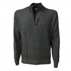 PANICALE knit man rows with zip 100% blue / white neck cashmere MADE IN ITALY