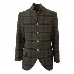 BKØ linea MADSON giacca uomo lana quadri tortora/grigio DU18515 MADE IN ITALY