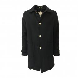 BKØ MADSON man coat black wool ecofur lining mod DU18523 MADE IN ITALY