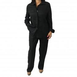 ELENA MIRO' completo donna pantaloni nero con zip 100% lino
